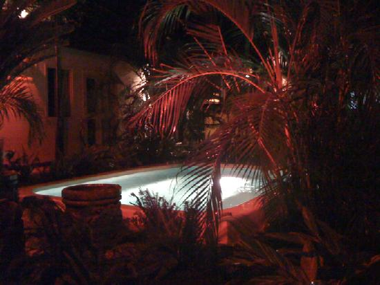 Hotel El Club: The jazuzzi and courtyard on a rainy evening.