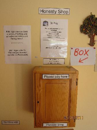Chalet Fontana: The money box at the Honesty Shop