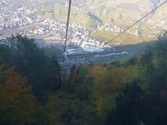 View from the Cable Car to Bolzano on way to Gasthof Kohlern in the Dolomites