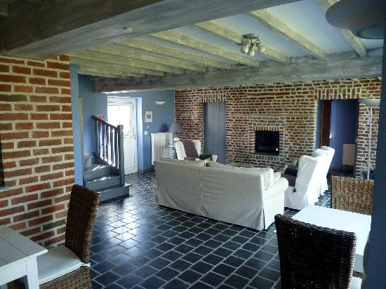 La Ferme des Saules : Guest lounge with stairs to La Champêtre & La Campagne bedrooms