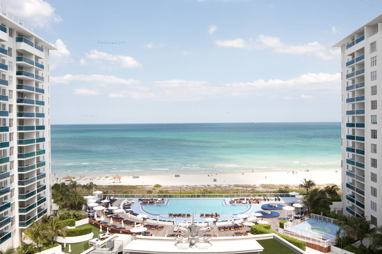 The Perry, South Beach: view of pool plaza and beach