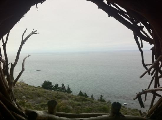 Treebones Resort: Looking out of the Nest over the sea. Wow!