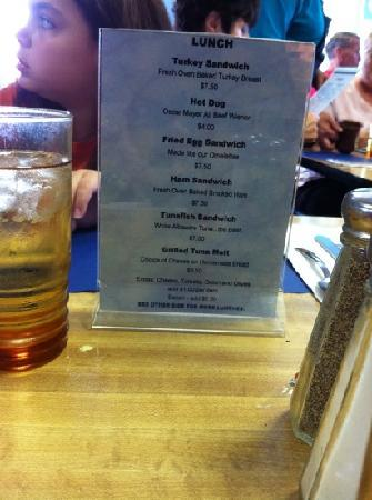 Juilleret's: Some of the menu. They also have specials and great breakfast.