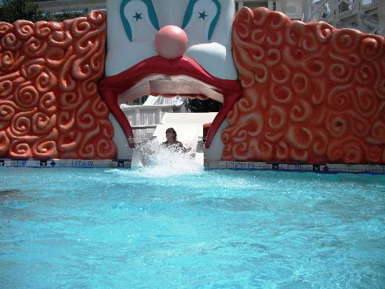 Disney's BoardWalk Villas: bottom of the resort pool slide