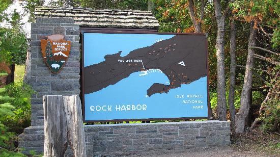 Rock Harbor Lodge: National Park sign