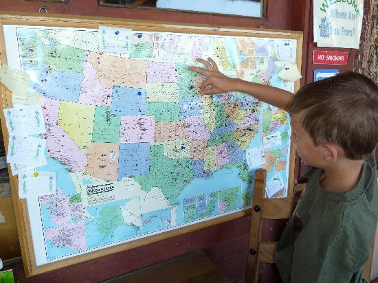 Buffalo Valley Ranch and Cafe: A board to pin where you are from.