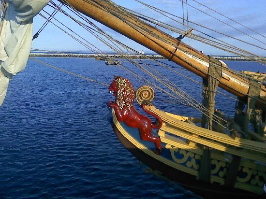 Moffett House: pirate ship anchored on mcmillian wharf