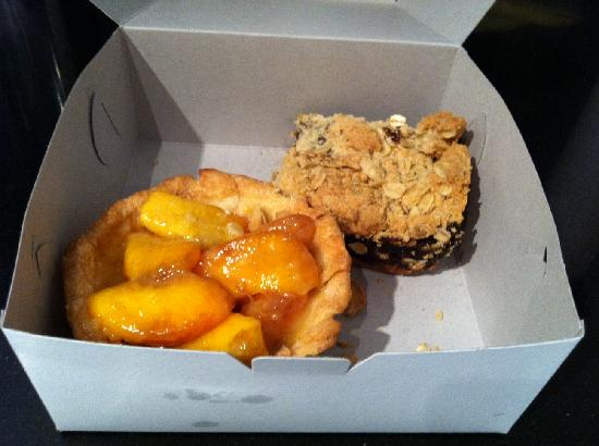 The Pie Plate: Huge peach tart and date square after I got them home