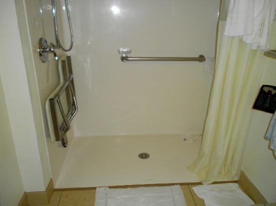 Days Inn Laramie: Handicap shower showing floor and width