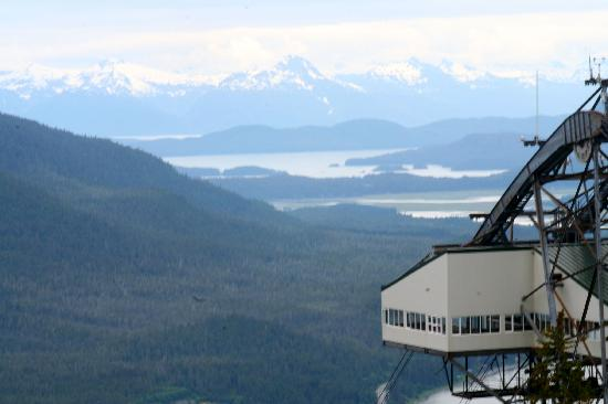 Goldbelt Mount Roberts Tramway: The upper tram terminal with the Fairweather Mountains in the background