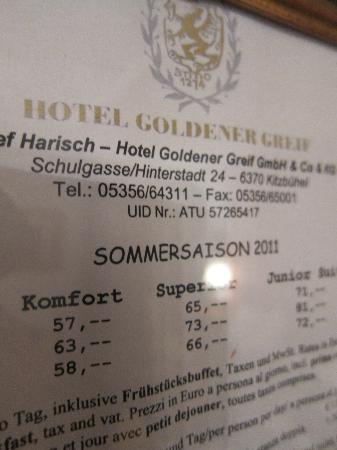 Hotel Goldener Greif: The price list