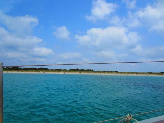 Oasis Sailing Cruises in Formentera: Espalmador Island from the boat