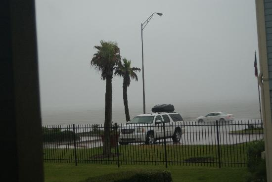 The Dawn Galveston Condominiums: view from condo toward the seawall