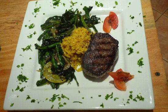 Hidden Falls Restaurant and Bar: Aged Belizean grass fed Rib Eye Steak