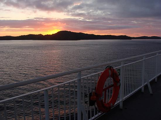 BC Ferries: On deck at sunset.