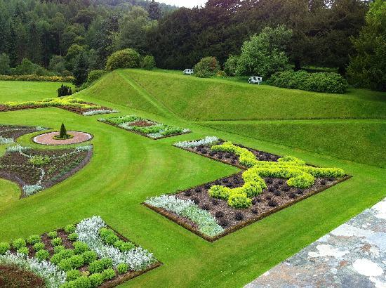 Drumlanrig Castle: a view of the superb garden