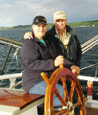Tall Ship Manitou - Day Tours: Jerry & Cecilia at the helm of the Manitou