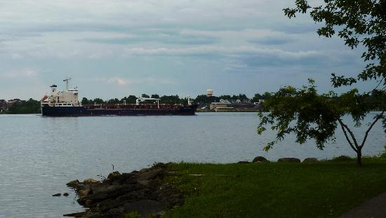 Our Stone Cottage : Freighter in St. Lawrence River, early morning