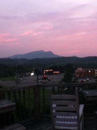 View from the deck of the beautiful sunset view at Hotel Pigeon Forge.