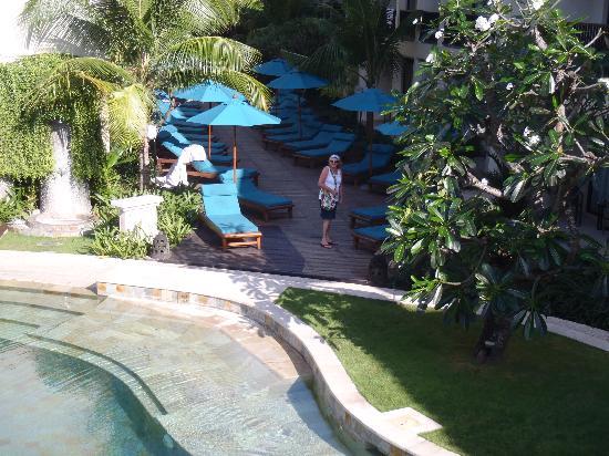 The Camakila Legian Bali: view from breakfast area showing internal pool area