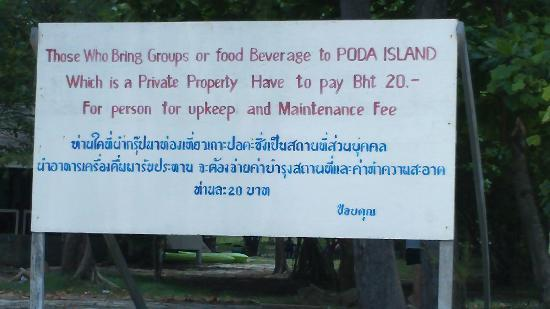 Poda Island Resort: Sign on Poda Island