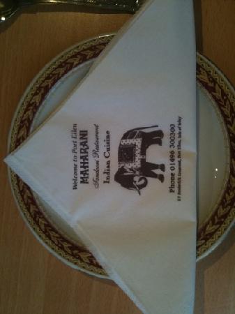 Maharani Restaurant: servilleta
