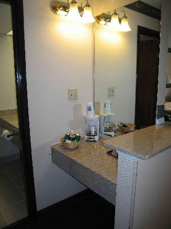Comfort Inn Airport: Counter outside bath (no sink)
