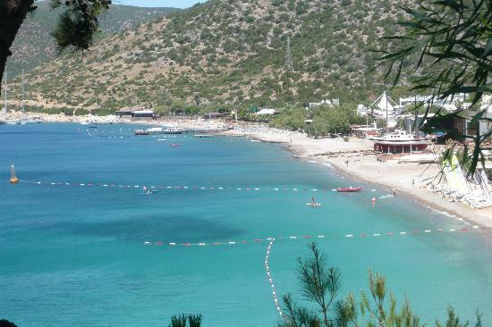 Club Med Bodrum Palmiye : plage vue des escaliers