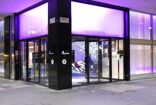 Nordic Light Hotel: The hotel entrance, viewed by night.