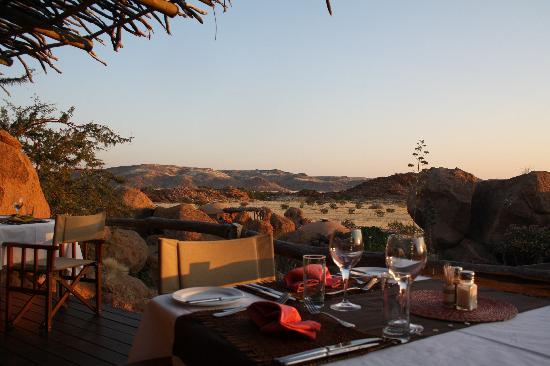 Damaraland, Namibië: Blick from Restaurant Camp Kipwe