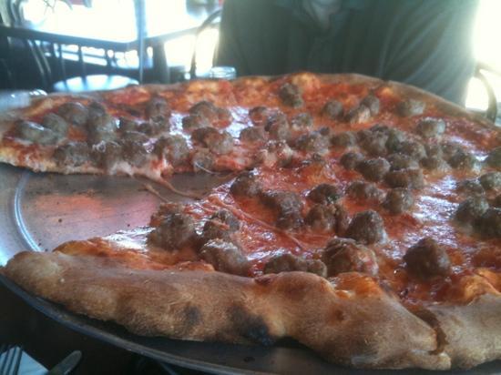 luigi's coal oven pizza: tomato pie with meatballs