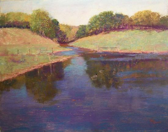 Black's Fort Inn Bed & Breakfast: Pastel artwork of our pond by Paul deMarrais