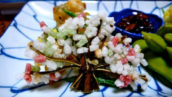 "Ryokan Fujioto: The ""tree"" is made of seaweed. The ""flowers"" are savory rice puffs. Super tasty."