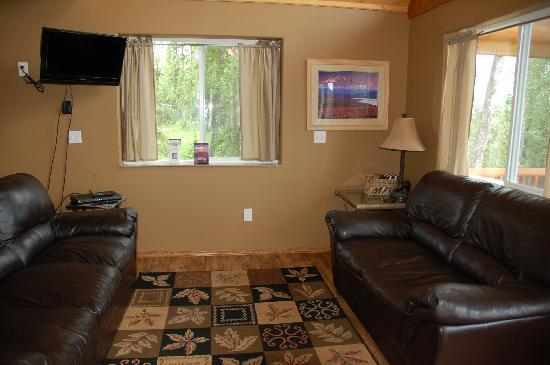 Stillwaters Chalets: Family room with DISH Network