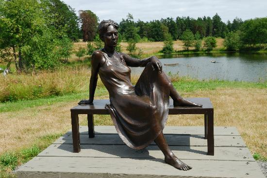 San Juan Island, WA: Lady on a bench