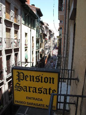 Pension Sarasate: View from our room (FYI-this sign is on C/San Nicolas and not Paseo Sarasate where the entrance
