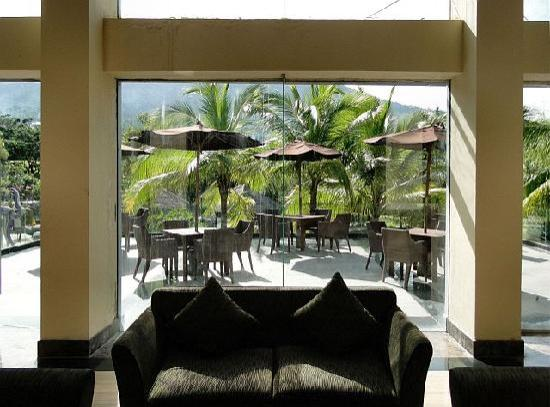 Grand Dafam Bela Ternate: View from lobby to the terrace and Api Gamalama