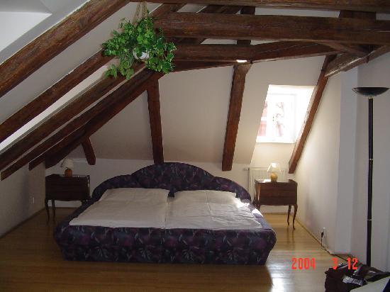 Hotel Cafe Dvorak: Il letto, comodo ma non all'altezza della location.