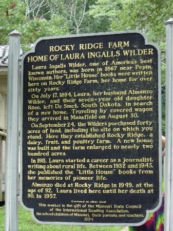 Laura Ingalls Wilder Historic Home and Museum: historic marker