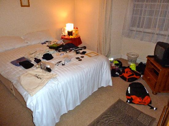 The White Horse Inn: My gear spread out mid-sorting!