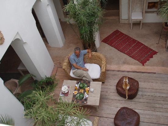 Riad Safa: View of central courtyard from our balcony