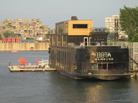 Bota Bota, spa-sur-l'eau: view taken from rue de la Commune, you can see their platform/quay