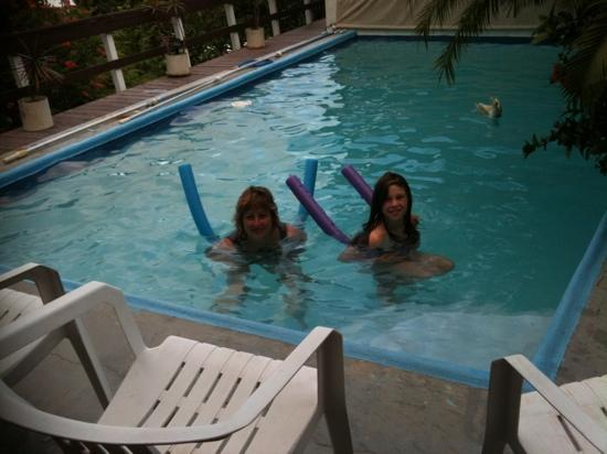 relaxing in the Hummingbird House pool