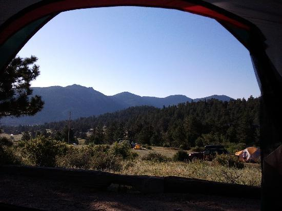 Mary's Lake Campground: View from tent.
