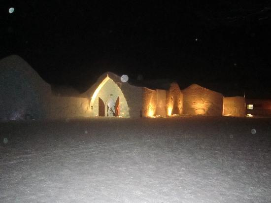 Hotel de Glace: ice hotel at night