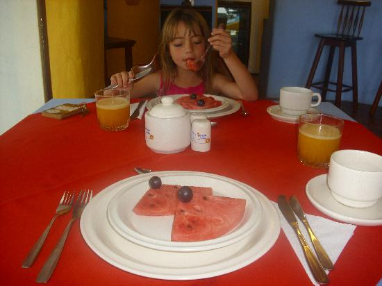 Enjoying breakfast at Mantaraya Lodge, Ecuador Pacific Coast