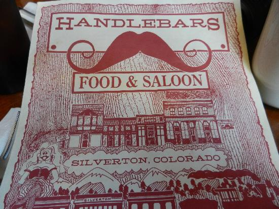 Handlebars Restaurant & Saloon: Read the text on the menu and you chuckle
