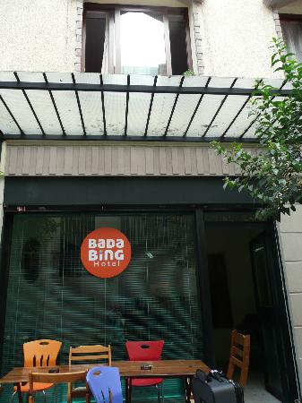 Outside the Bada Bing Hostel