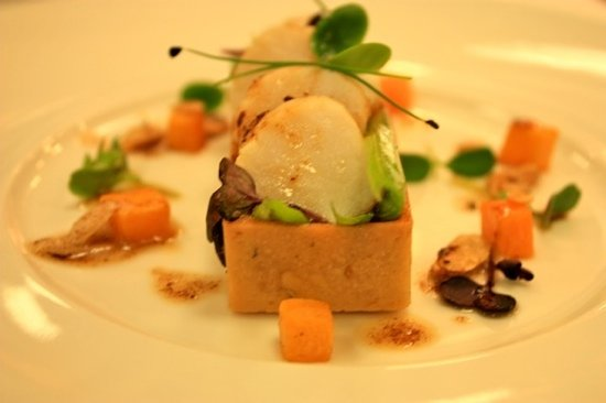 The River Restaurant: scallop and butternut squash tart