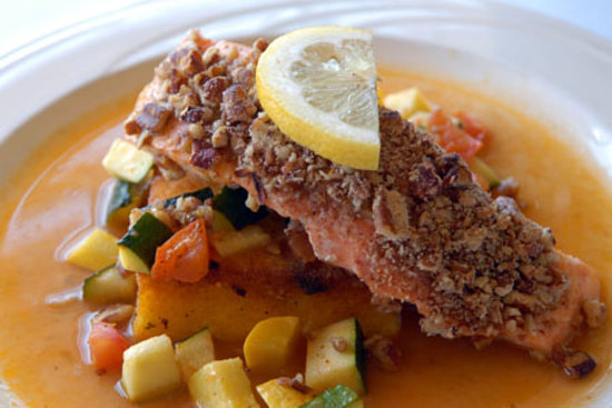 Inglenook: customer favorite pecan encrusted salmon